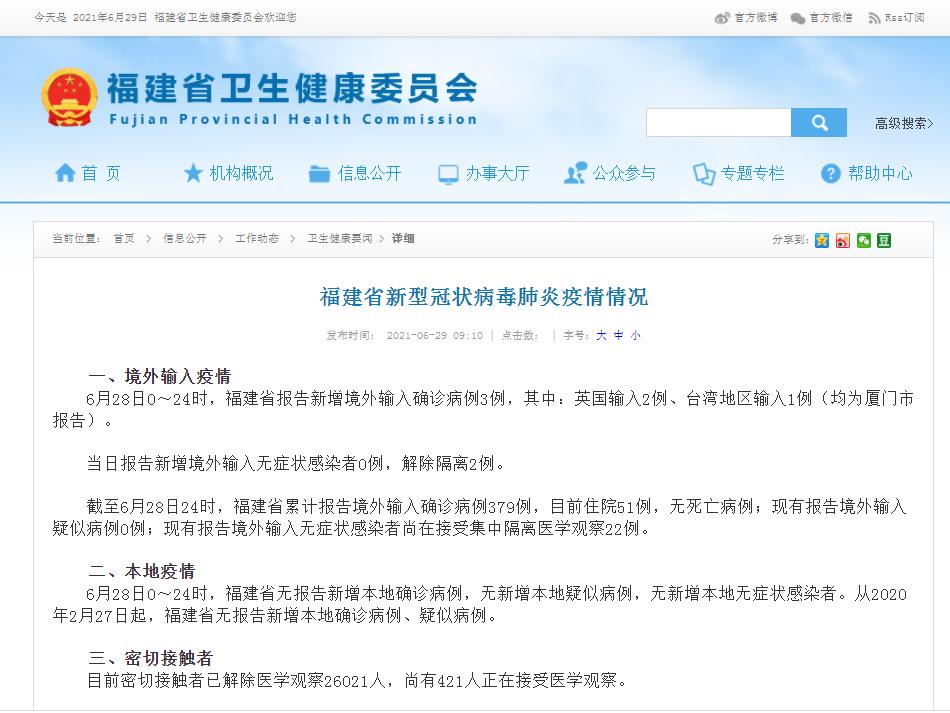 6月29日福建省新冠肺炎疫情最新情况 新增境外输入确诊3例