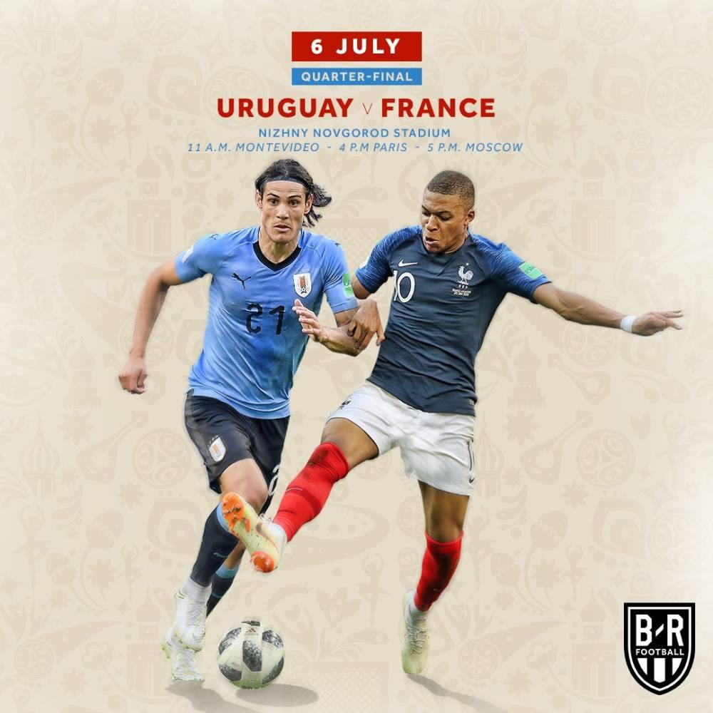 30日赛后 世界杯1/4决赛对阵:法国VS乌拉圭