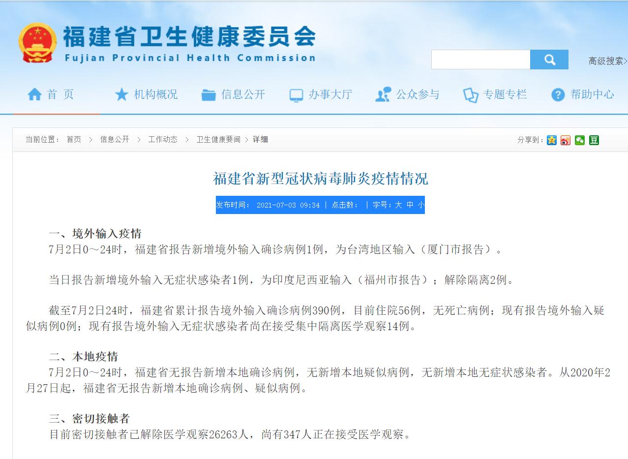 7月3日福建省新冠病毒肺炎疫情情况 新增1例境外输入