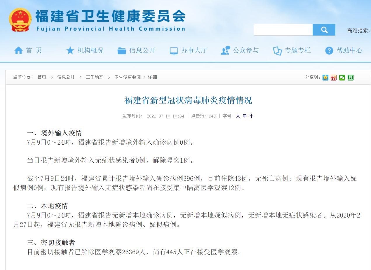 7月10日福建省新冠病毒疫情情况 省内无新增