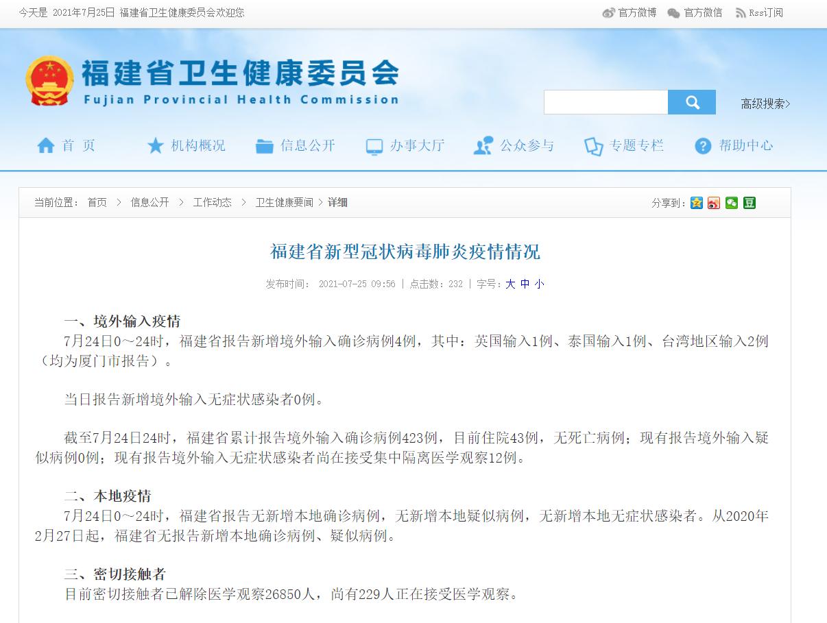 7月25日福建省新冠病毒疫情情况 新增4例境外输入