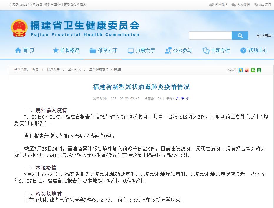 7月26日福建省新冠病毒疫情最新情况 新增境外输入5例