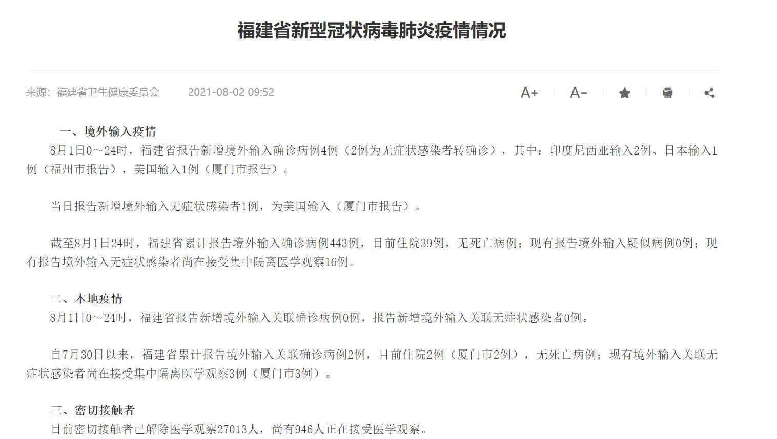8月2日福建省新型冠状病毒肺炎疫情情况